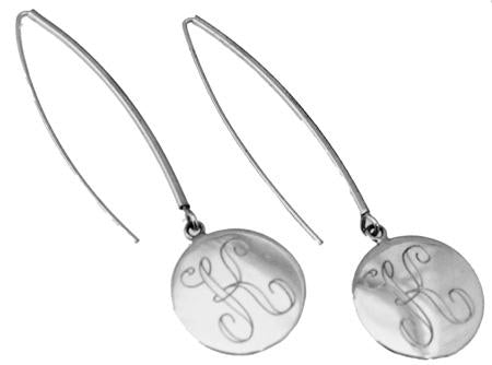 Sterling Silver Circle Engravable Earring On Long Wire - Atlanta Jewelers Supply