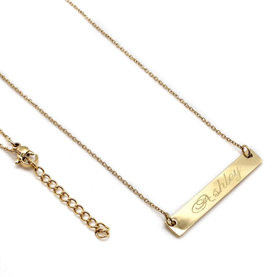 STAINLESS STEEL 27 MM BAR NECKLACE