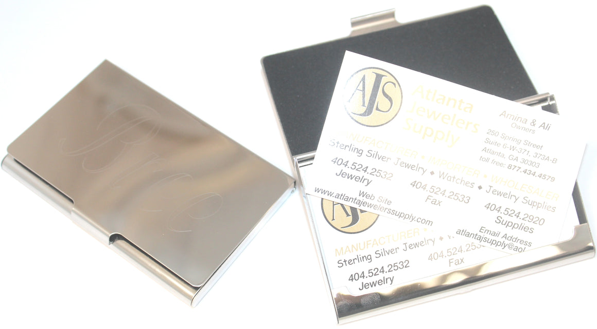 Engravable Plain Business Card Holder. atlanta-jewelers-supply.myshopify.com