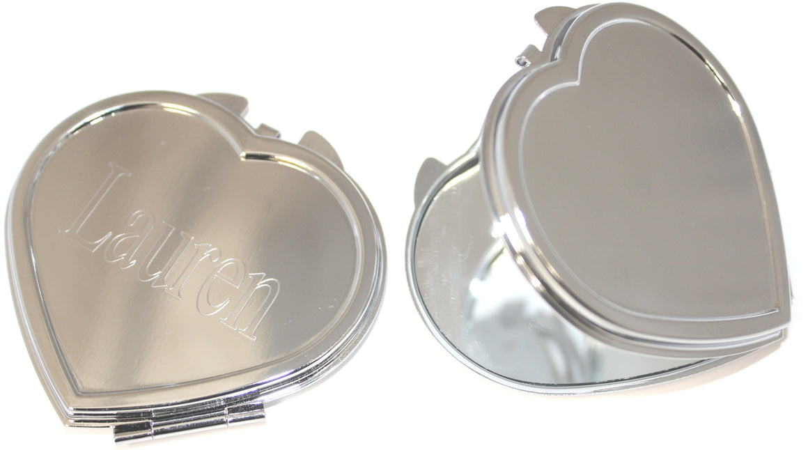 Engravable Plain Heart Shape Compact Mirror atlanta-jewelers-supply.myshopify.com
