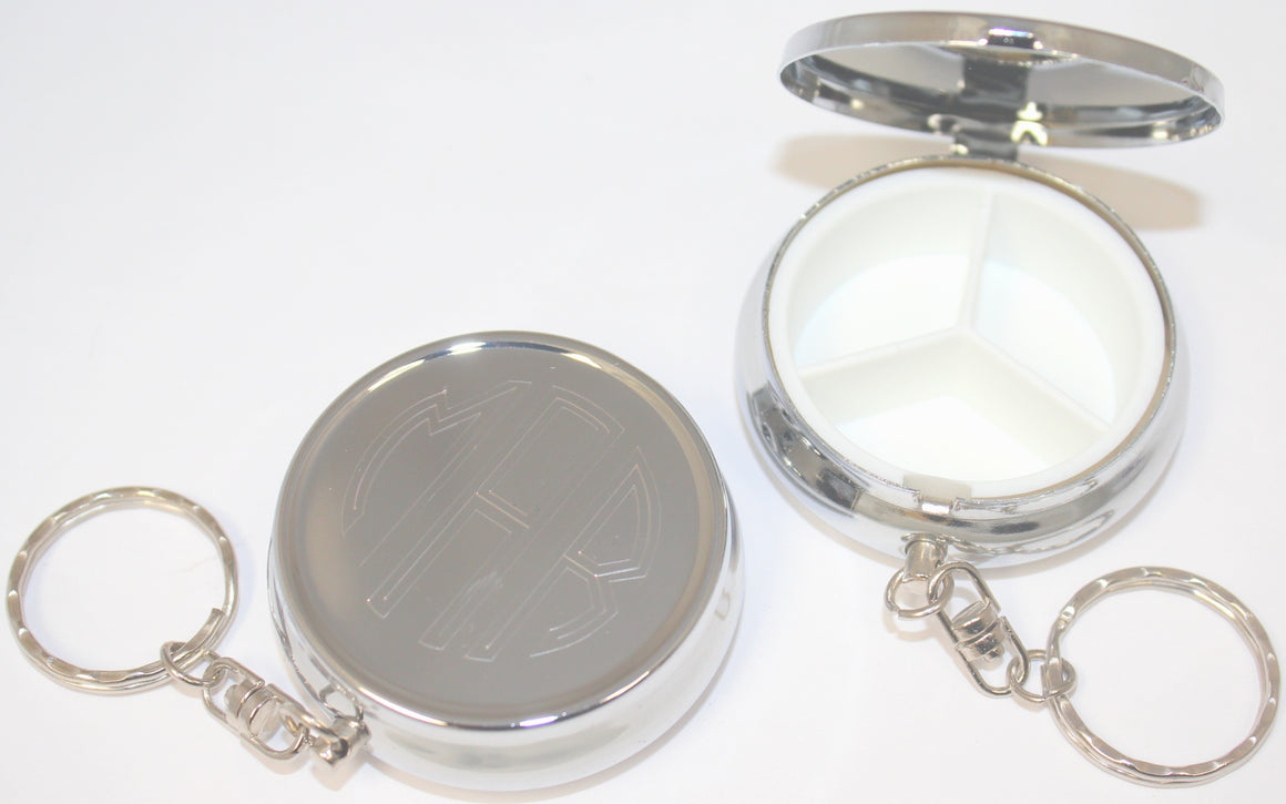 Engravable Round Pill Box Key Chain - Atlanta Jewelers Supply