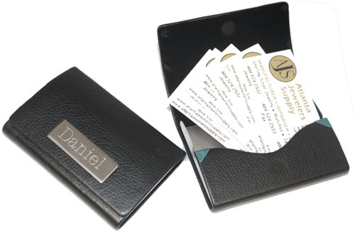 An Engravable Leatherette Card Holder With Square Plate For Engraving atlanta-jewelers-supply.myshopify.com