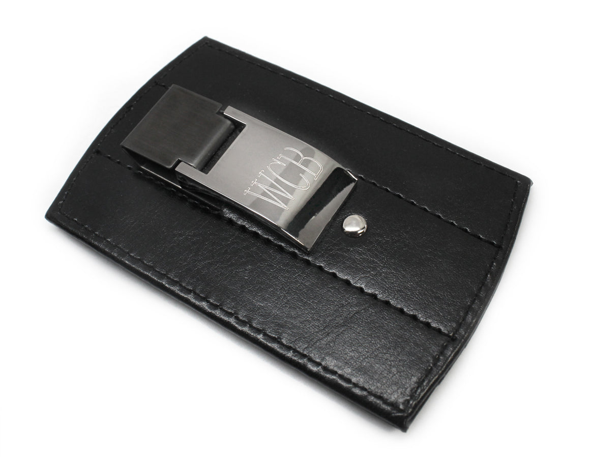 Engraved Silver Plated Non Tarnish Leatherette Money Clip And Card Holder atlanta-jewelers-supply.myshopify.com