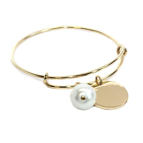Engravable German Silver Gold-Colored Bracelet With Freshwater Pearl - Atlanta Jewelers Supply