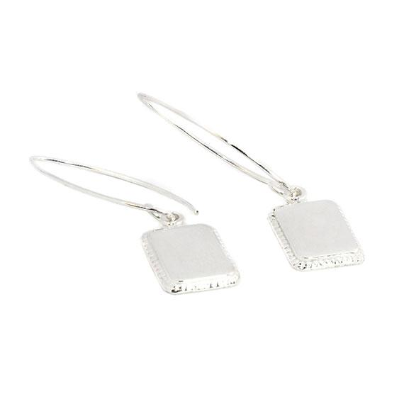 Engravable German Silver Rectangular Border Earrings - Atlanta Jewelers Supply