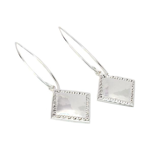 Engravable German Silver Tilted Square Earrings With Spoon Design Border atlanta-jewelers-supply.myshopify.com
