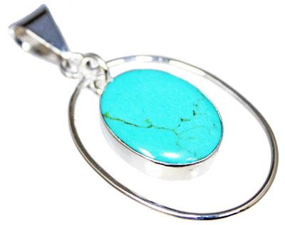 Oval Wire Design Bail Pendant With Turquoise Stone Dangle - Atlanta Jewelers Supply