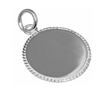 Engravable German Silver Round Pendant With Rope Design Trim - Atlanta Jewelers Supply