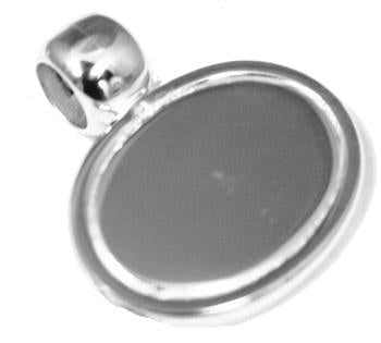 Engravable German Silver Oval Pendant With Beveled Edge Design And Barrel Bail atlanta-jewelers-supply.myshopify.com