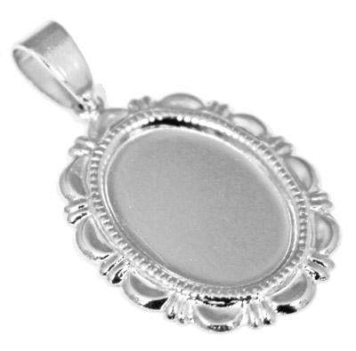 Engravable German Silver Oval Pendant With Designed Border - Atlanta Jewelers Supply