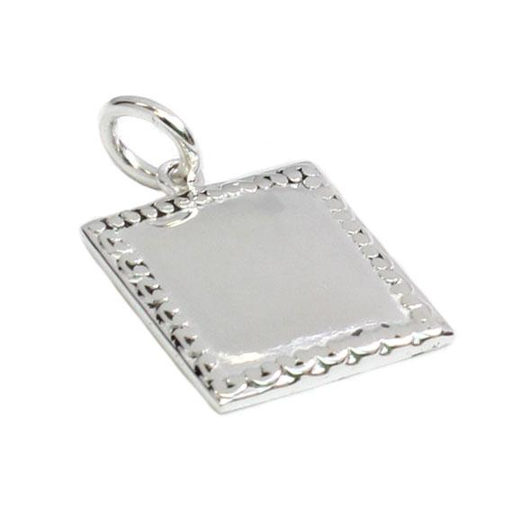 German Silver Engravable Silver Colored Square Pendant With Spoon Design Borders - Atlanta Jewelers Supply