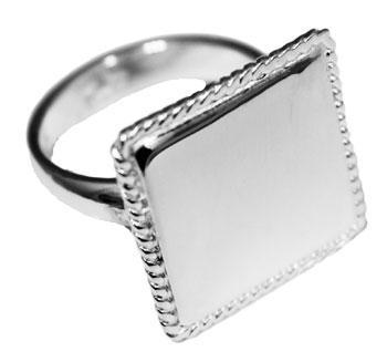 German Silver Round, Square and Oval Engravable Rings with Rope Edge - Atlanta Jewelers Supply