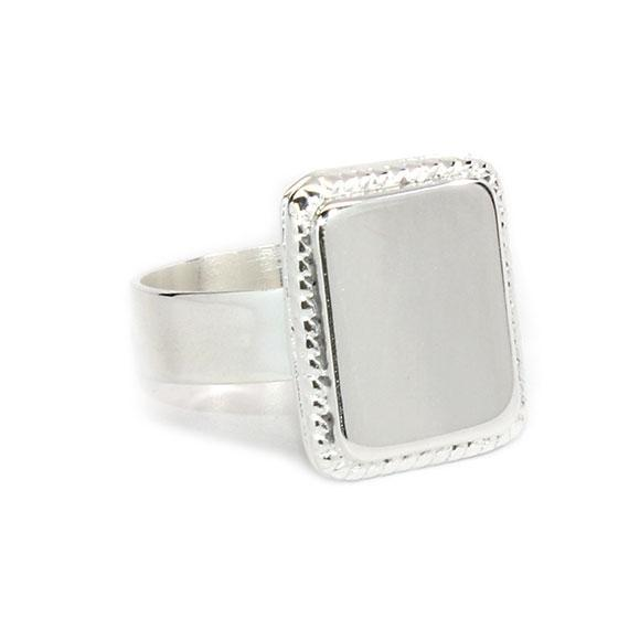 German Silver Oval and Square Engravable Rings with Rope Border Design atlanta-jewelers-supply.myshopify.com