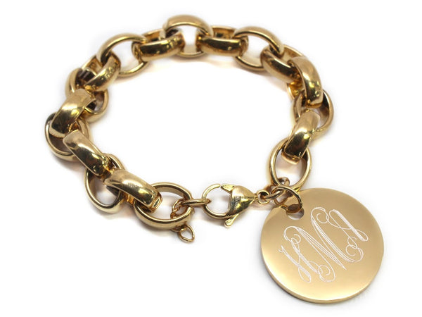 STAINLESS STEEL OVAL ROLO LINK BRACELET WITH ENGRAVE DISC - Atlanta Jewelers Supply