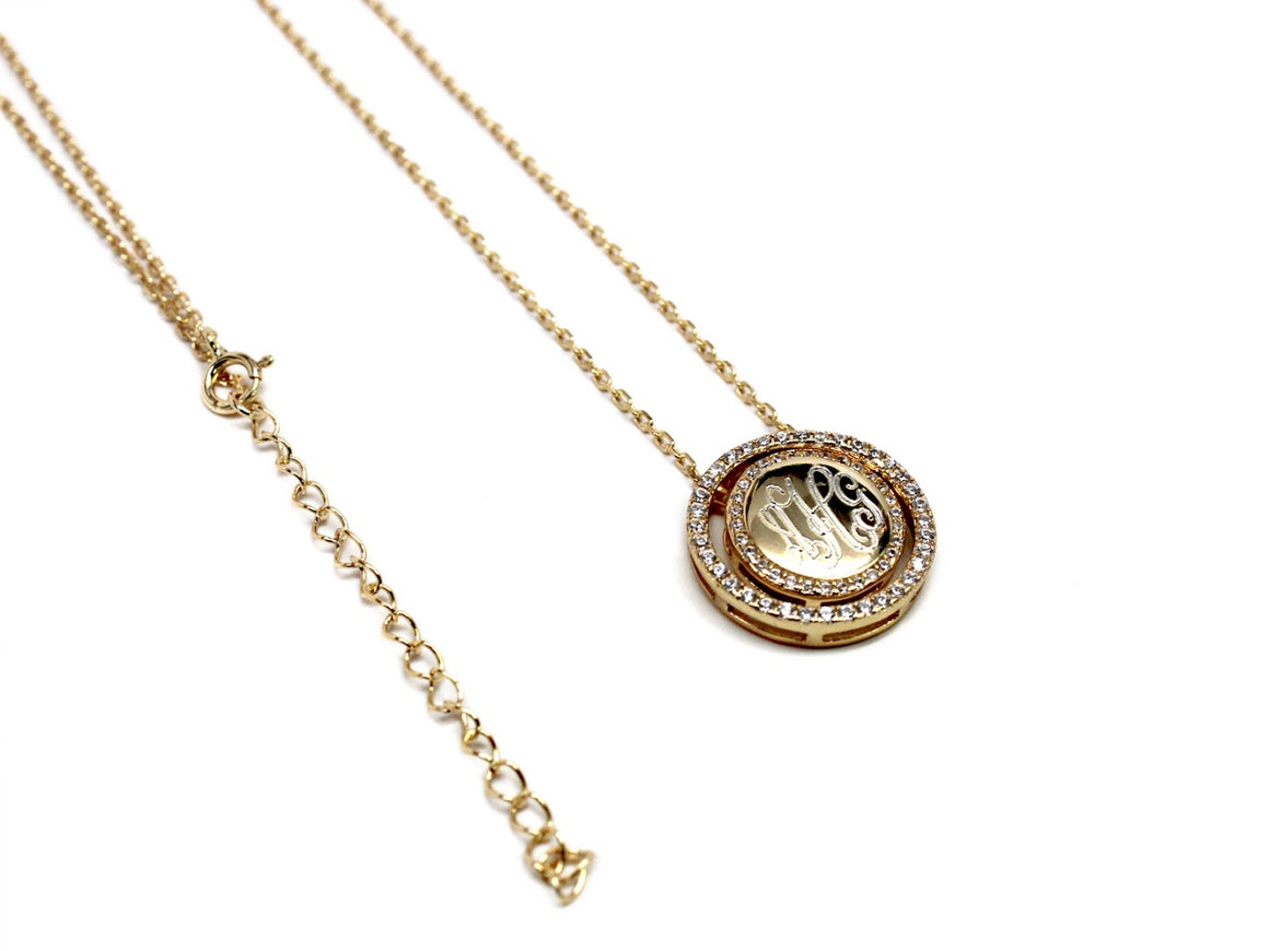 Sterling Silver Engravable Halo Style Circle CZ Pendant Necklaces - atlanta-jewelers-supply