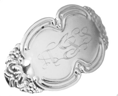 Sterling Silver Oval Engravable Hair Clip with  Design on the edge - atlanta-jewelers-supply