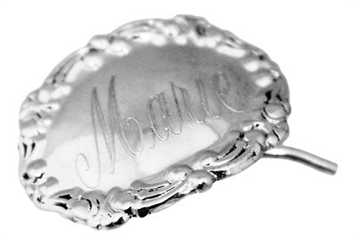 Sterling Silver Horizontal Small Oval Engravable Hair clip with Elegant Design - Atlanta Jewelers Supply