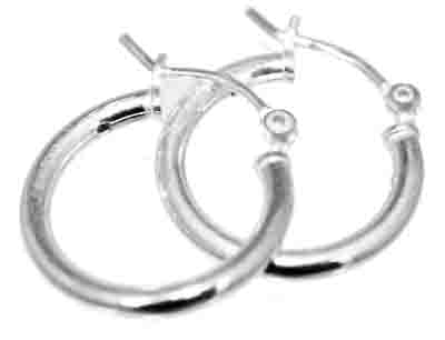 Sterling Silver 2.5 mm and 3.00 mm Snap-on Wire Hoops 16 mm wide - Atlanta Jewelers Supply