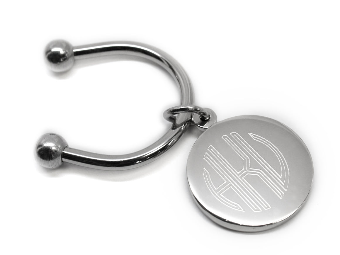 Engravable Horse Shoe Round Keychain with Screw off Caps - Atlanta Jewelers Supply