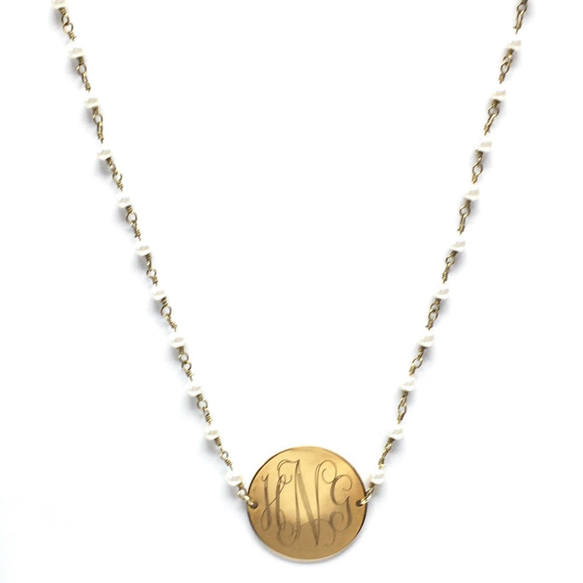 Engraveable Pearl Necklace With Personalized Steel Pendant in Gold And Silver atlanta-jewelers-supply.myshopify.com