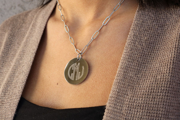 Stainless Steel Paper Clip Engraved Necklace - Atlanta Jewelers Supply