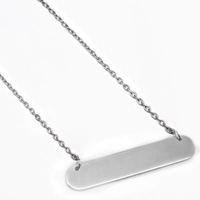 Sterling Silver Small Bar Necklace 35mm x 7mm - atlanta-jewelers-supply