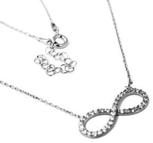 "Sterling Silver Stylish Yet Elegant Color 0.8 X 0.3"" Infinity Necklace With Mounted Cz Stones - Atlanta Jewelers Supply"
