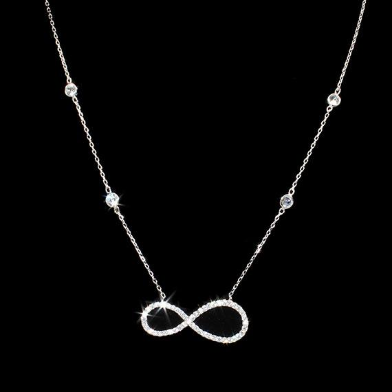Sterling Silver Elegant Dainty Necklace With 4 Cz Mounts On The Chain And A Centered 1 X 0.5 Infinity Sign With One Side Of The Infinity Being Larger Then The Other Side - atlanta-jewelers-supply
