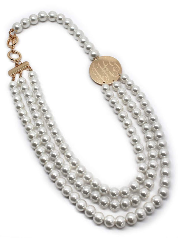 Triple Pearl Sideway Engraved Disc Necklace - atlanta-jewelers-supply
