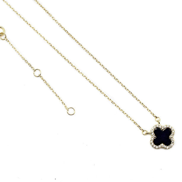 Sterling Silver Four Petal Flower CZ Necklace - Atlanta Jewelers Supply