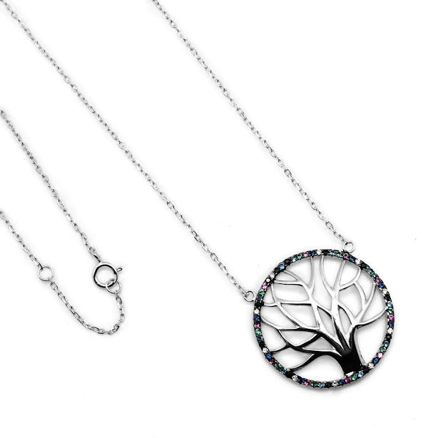 Tree of Life Multicolor CZ Necklace - Atlanta Jewelers Supply