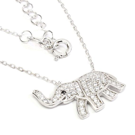 Stylish Sterling Silver 0.7 X 0.4 Elephant Necklace With Clear Cz Stones - atlanta-jewelers-supply