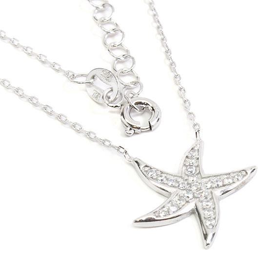 Stylish Sterling Silver 0.6 Starfish Necklace With Clear Cz Stones - atlanta-jewelers-supply