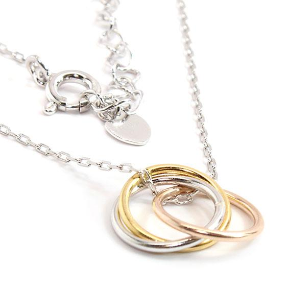 Sterling Silver Non-Engravable Necklace With Silver, Gold, And Rose Gold Colored Circles. Includes A 16 Sterling Silver Chain. - atlanta-jewelers-supply