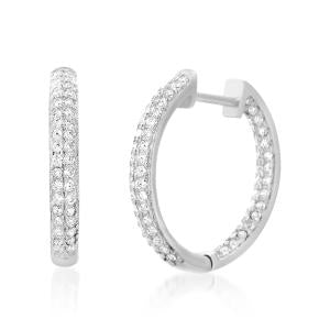 Sterling Silver Cz Round Hoop Rhodium Earrings - Atlanta Jewelers Supply