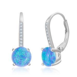 Sterling Silver Round Blue Opal Color Stone Drop Earrings - Atlanta Jewelers Supply