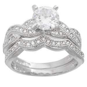 Sterling Silver Cz Round Engagemet Set Ring atlanta-jewelers-supply.myshopify.com