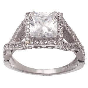 Sterling Silver Cz Square Ring atlanta-jewelers-supply.myshopify.com