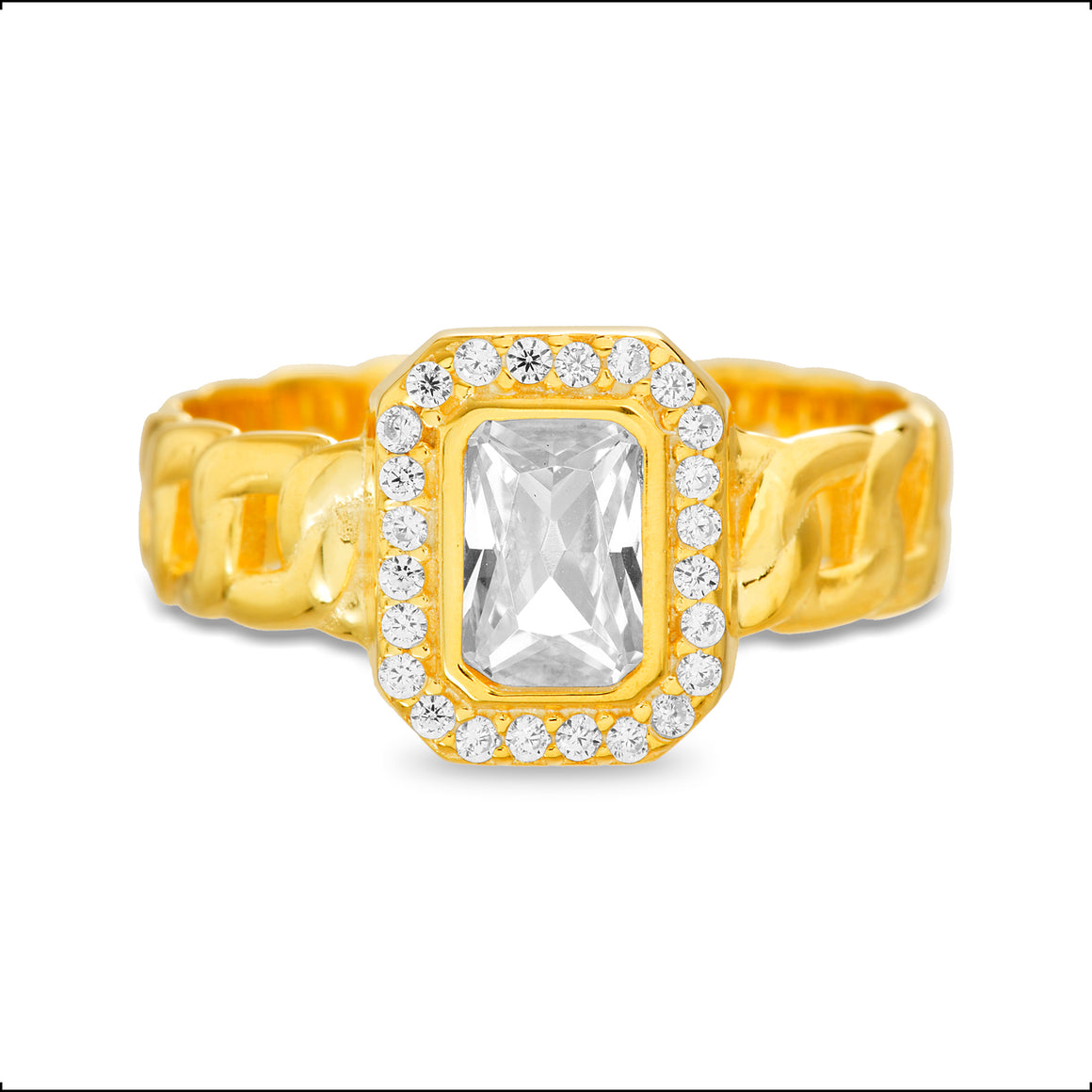 GOLD EMERALD CUT CZ W/ CZ BORDER RING