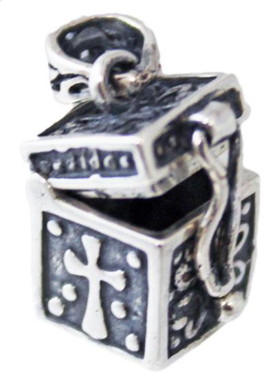 Sterling Silver Small Vertical Rectangle Prayer Box Pendant - atlanta-jewelers-supply