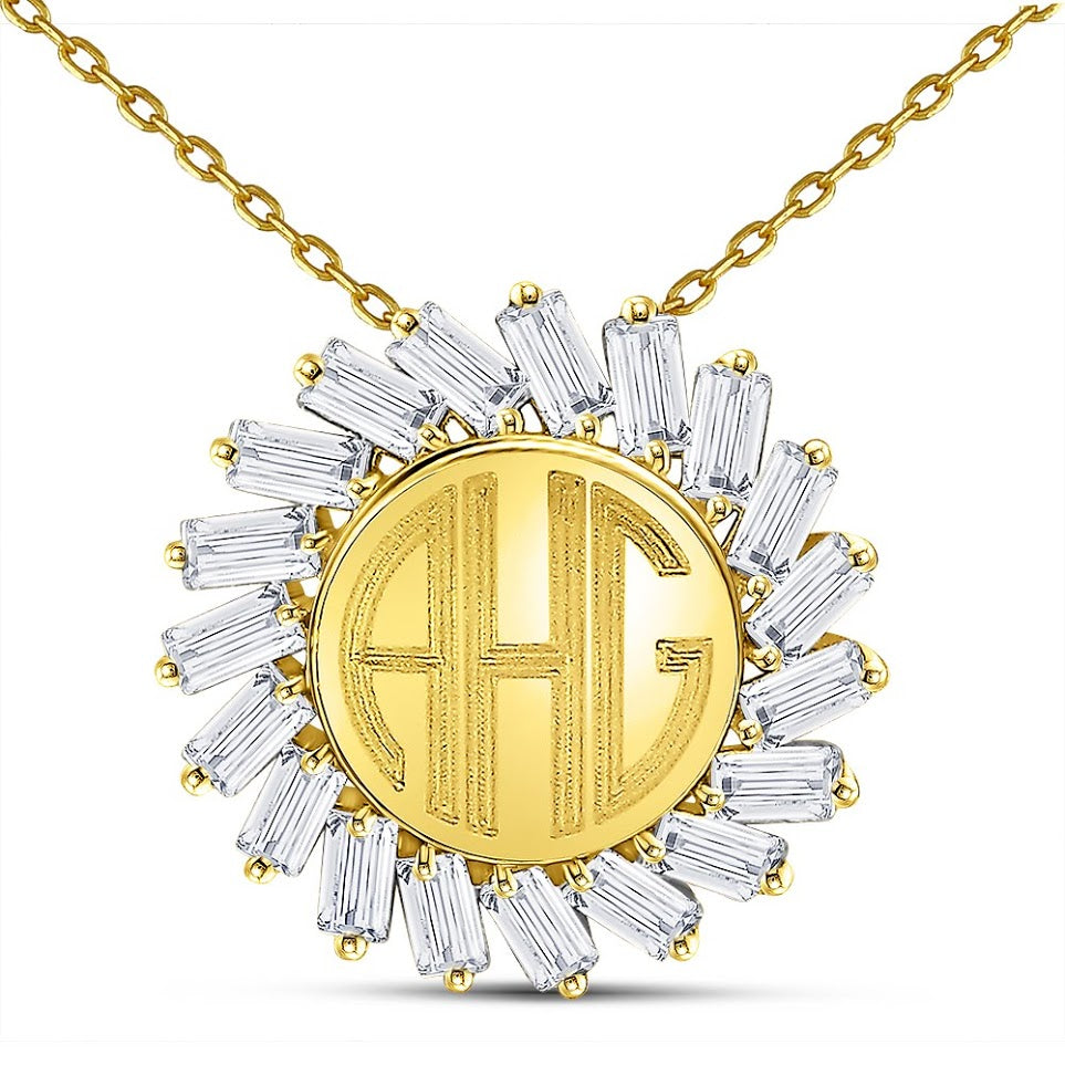 Stunning Sterling Silver CZ Engravable Sun Necklace With Your Choice Of Initials - atlanta-jewelers-supply
