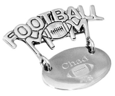 "Sterling Silver Engravable Round Pendant Or Pin Cut-Out ""Football Mom"" - atlanta-jewelers-supply"