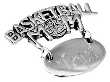 "Sterling Silver Engravable Round Pendant Or Pin Cut-Out ""Basketball Mom"" - atlanta-jewelers-supply"