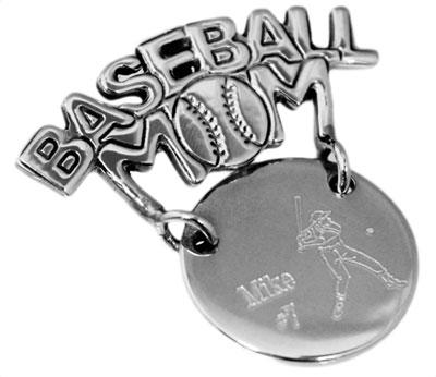 "Sterling Silver Engravable Round Pendant Or Pin Cut-Out ""Baseball Mom"" - atlanta-jewelers-supply"
