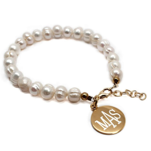 Sterling Silver Freshwater Pearl Bracelet With Engrave Disc - Atlanta Jewelers Supply