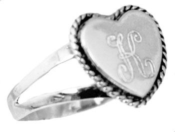 Sterling Silver Small Heart Ring & Rope Designed Edges - Atlanta Jewelers Supply