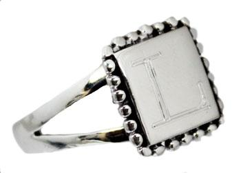 Sterling Silver Small Square & Beaded Trim Ring - Atlanta Jewelers Supply