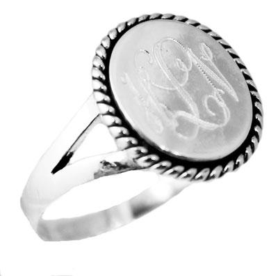 Sterling Silver Ring Vertical Oval Engravable Ring With Roped Edge and Split Band - atlanta-jewelers-supply