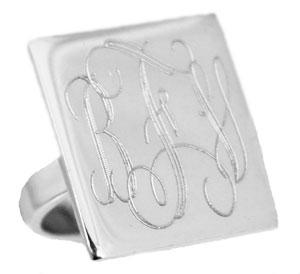 Sterling Silver Large Engravable Squared Ring - Atlanta Jewelers Supply