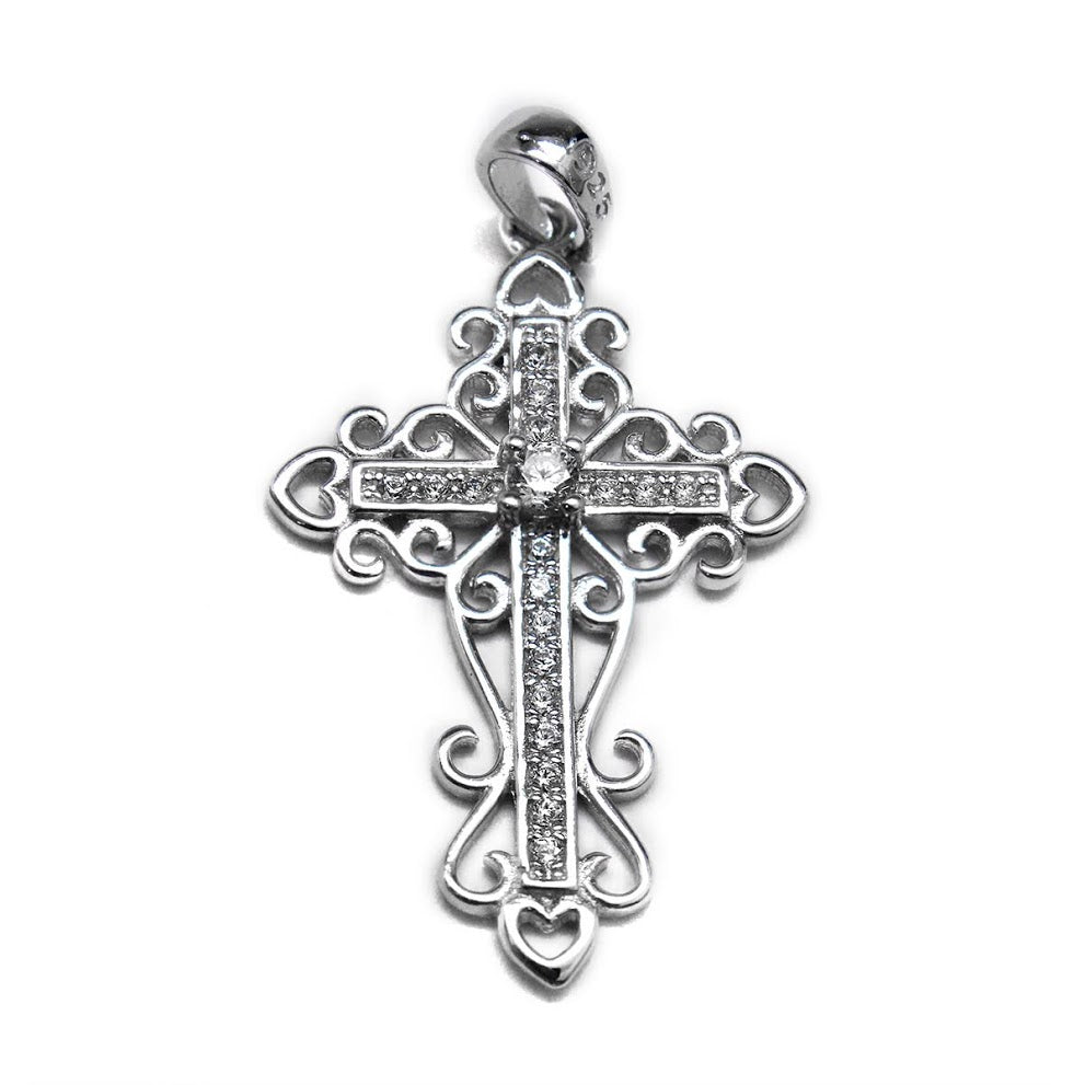 Sterling Silver Decorative Cross with CZ Center Stones atlanta-jewelers-supply.myshopify.com
